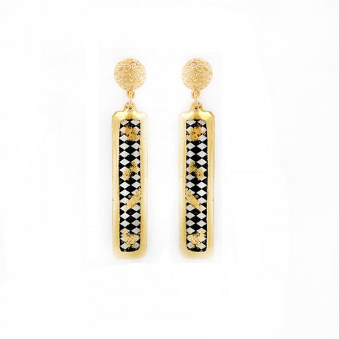 Checked Black and White Harlequin Column Earring in 22k Gold Leaf - Silverscape Designs
