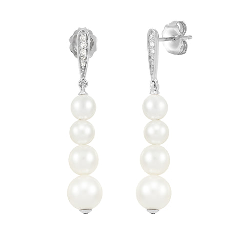 Honora Graduated White Pearl and Diamond Drop Earrings