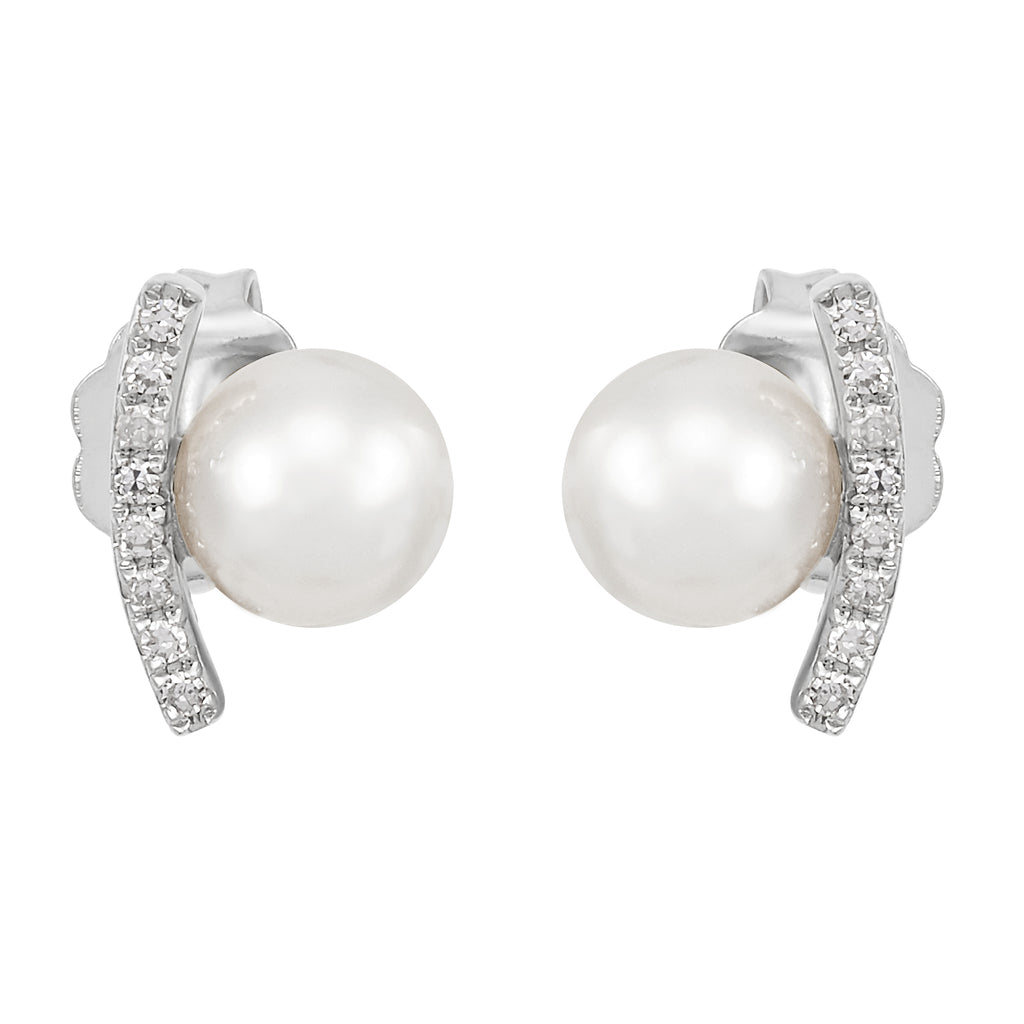Honora White Pearl with Accent Diamond 14k White Gold Stud Earrings