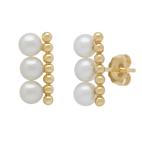 Honora Pearl Yellow Gold Stud Earrings