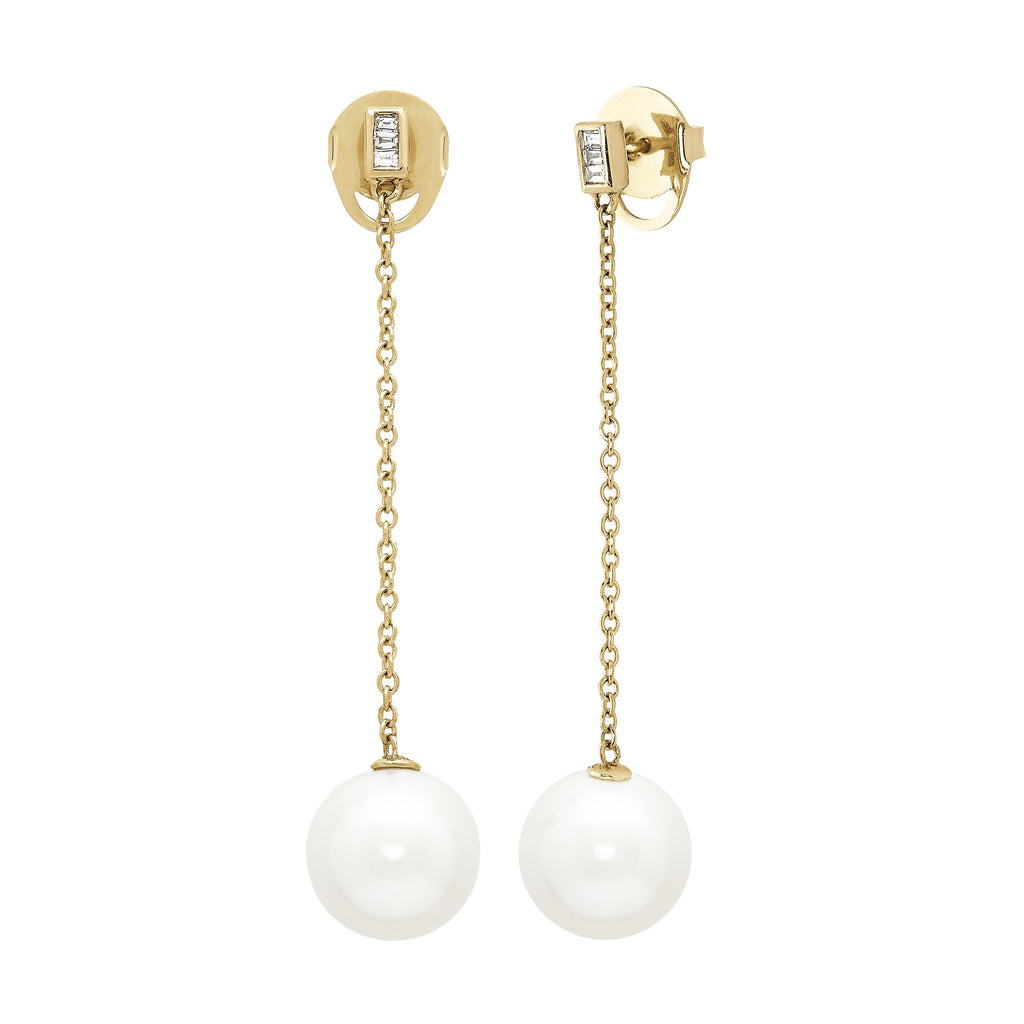 Honora Pearl and Diamond Yellow Gold Drop Earrings - Silverscape Designs