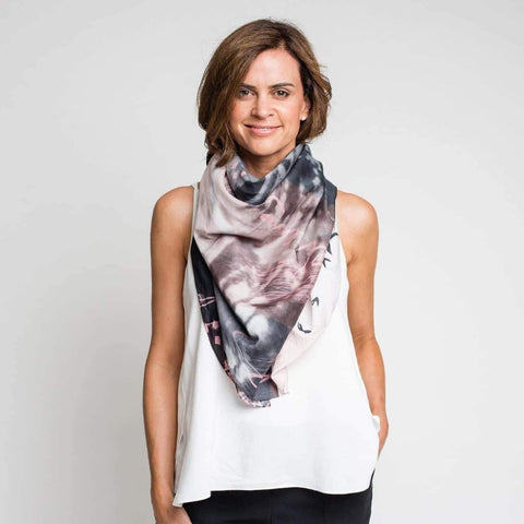 Dog and Boy Designs Believe Silk and Cotton Scarf