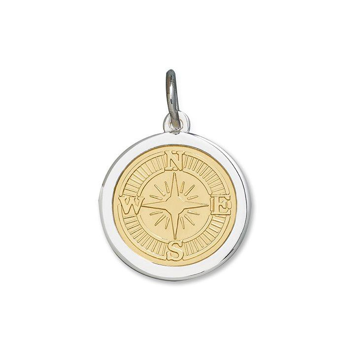 Bronze Tone Compass Rose Pendant in Sterling Silver