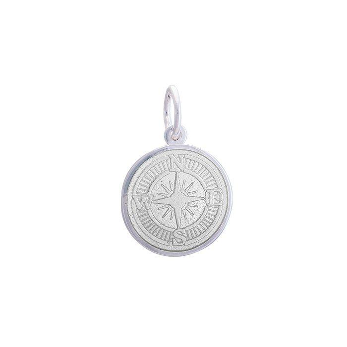White Compass Rose Pendant in Sterling Silver