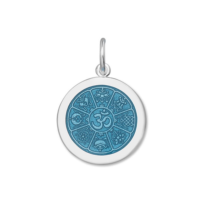 Blue OM Pendant in Sterling Silver 27mm - Silverscape Designs