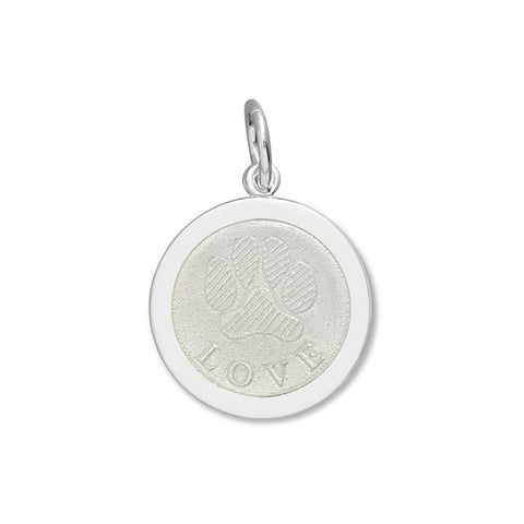 White Paw Print Pendant in Sterling Silver 27mm