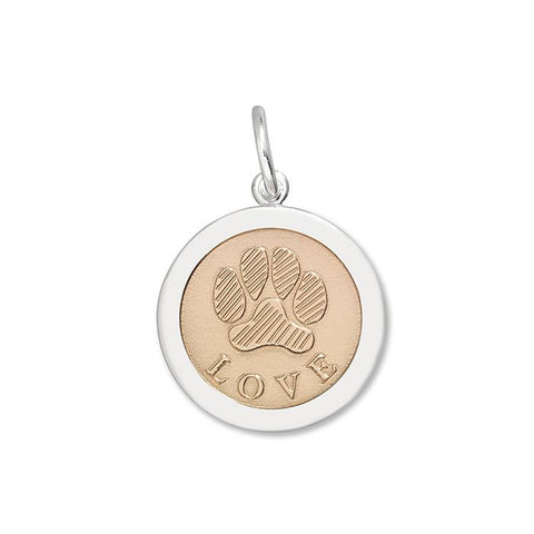 Rose Vermeil Center Paw Print Pendant in Sterling Silver