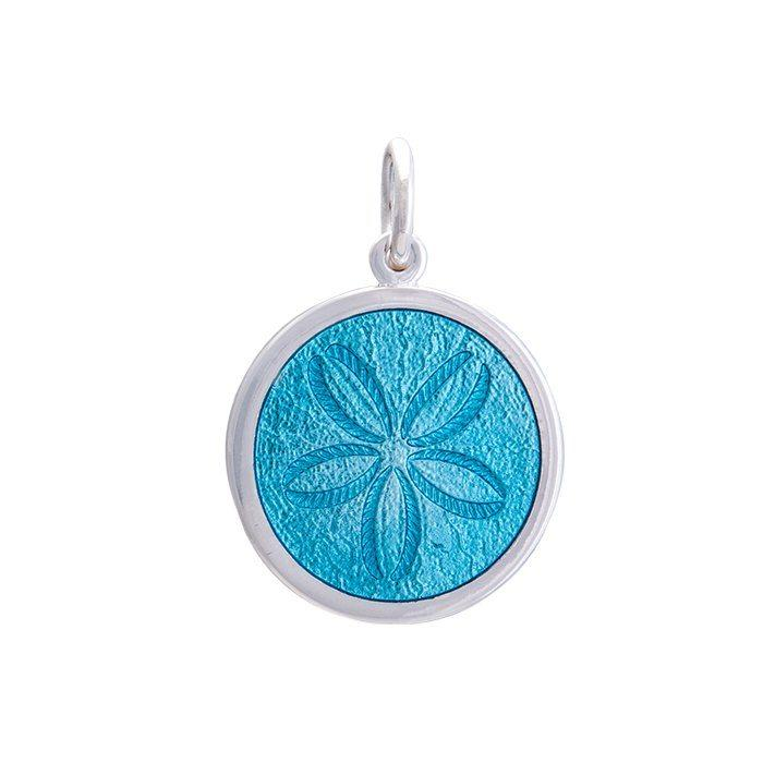 Blue Sand Dollar Pendant in Sterling Silver 27mm - Silverscape Designs
