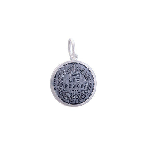 Pewter Sixpence Pendant in Sterling Silver