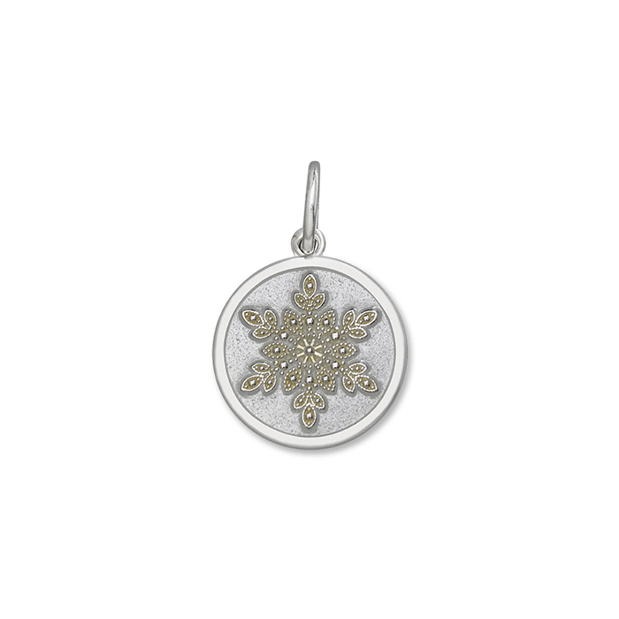 White Snowflake Pendant in Sterling Silver