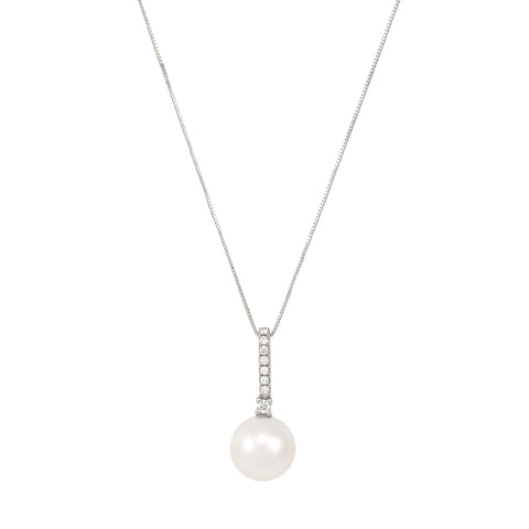 Honora Round White Pearl and Diamond White Gold Necklace