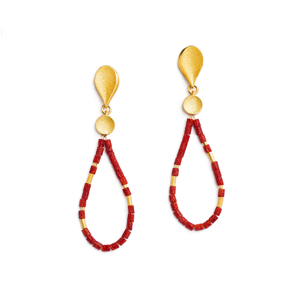 Clino Red Coral Earrings