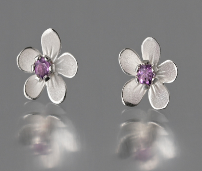 Sterling Silver Amethyst Apple Blossom Post Earrings