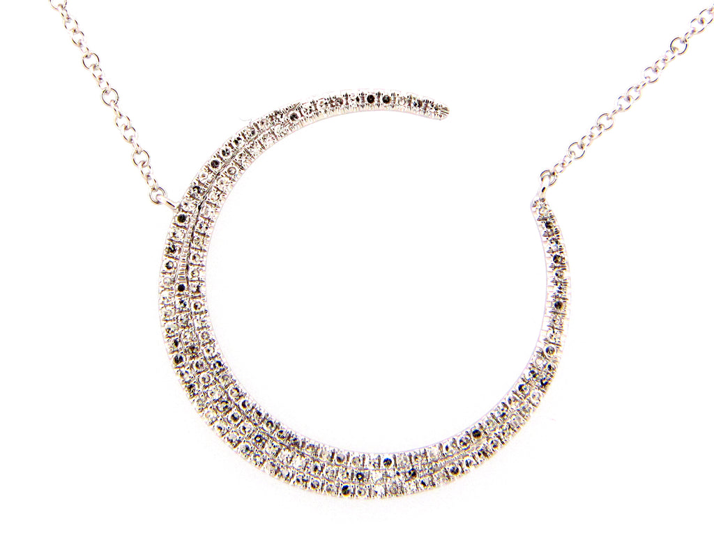 Crescent Moon Diamond Necklace - Silverscape Designs