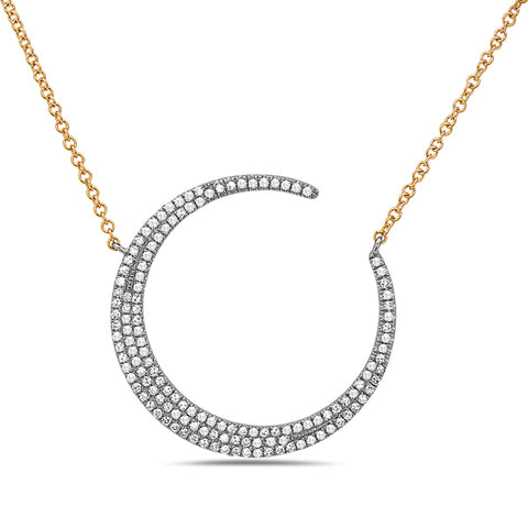 Large Dimond Crescent Moon Mixed Metal Necklace