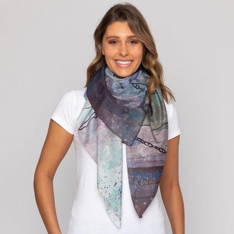 Dog and Boy Designs Dusk Silk and Cotton Scarf