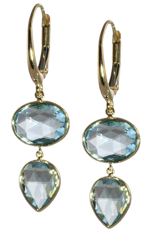 Sky Blue Topaz Double Drop Earrings