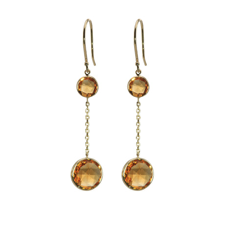 Citrine Round Dangle Earrings with Yellow Gold Chain Center - Silverscape Designs