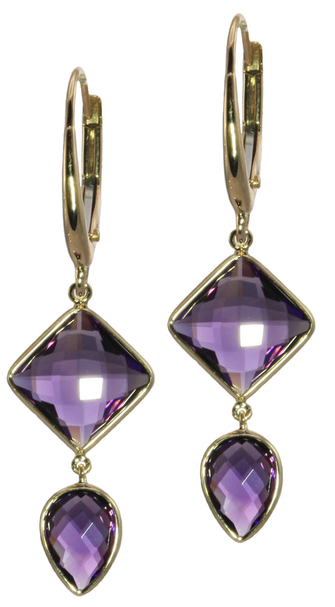 Amethyst Latchback Drop Earrings - Silverscape Designs