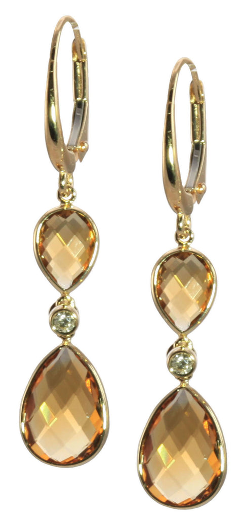 Citrine and Diamond Dangle Earrings
