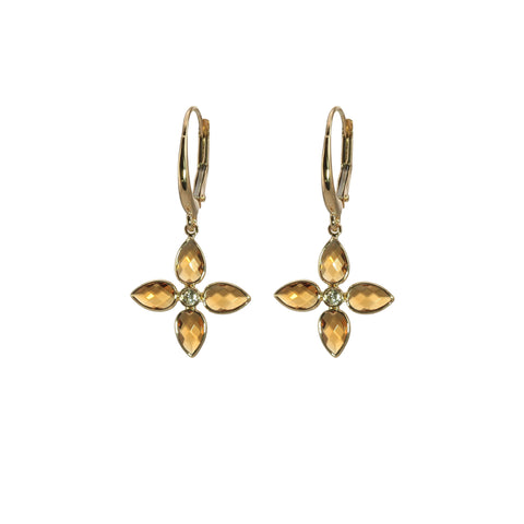 4 Petal Citrine Floral Earring in Yellow Gold - Silverscape Designs
