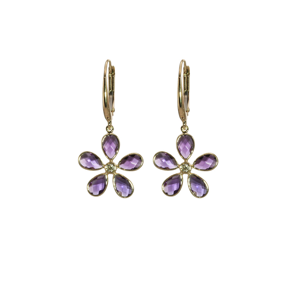 Floral Amethyst Dangle Earrings in Yellow Gold - Silverscape Designs