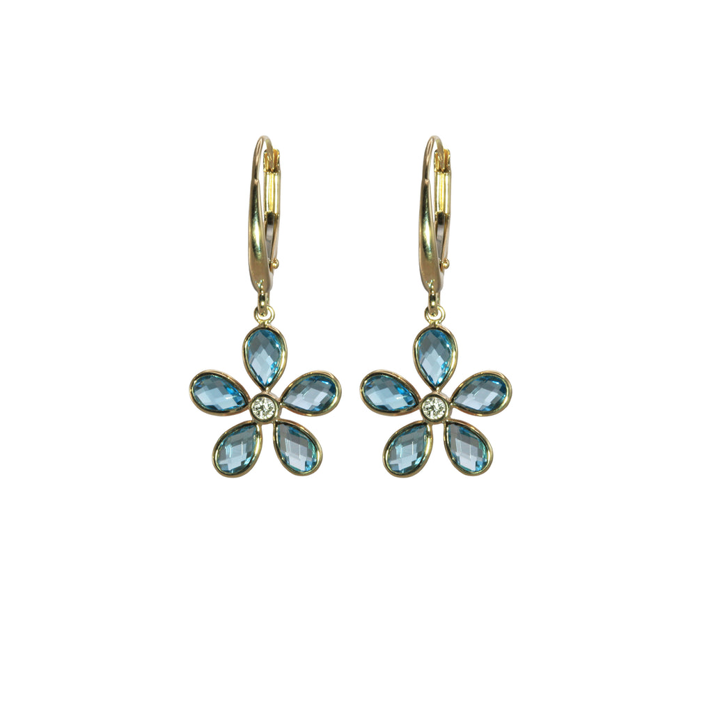 Blue Topaz Floral Dangle Earrings in Yellow Gold - Silverscape Designs
