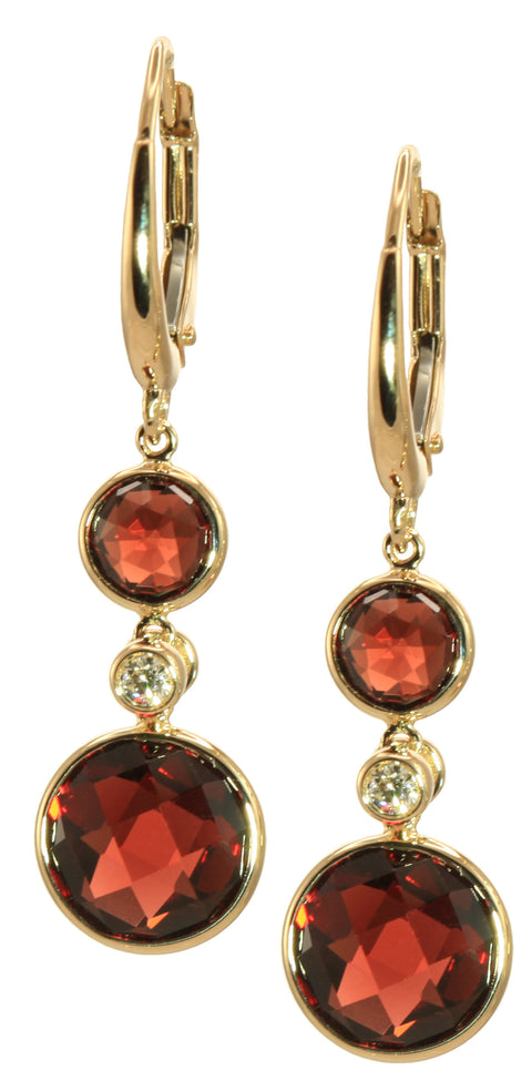 Circular Garnet & Diamond Latch Back Earrings