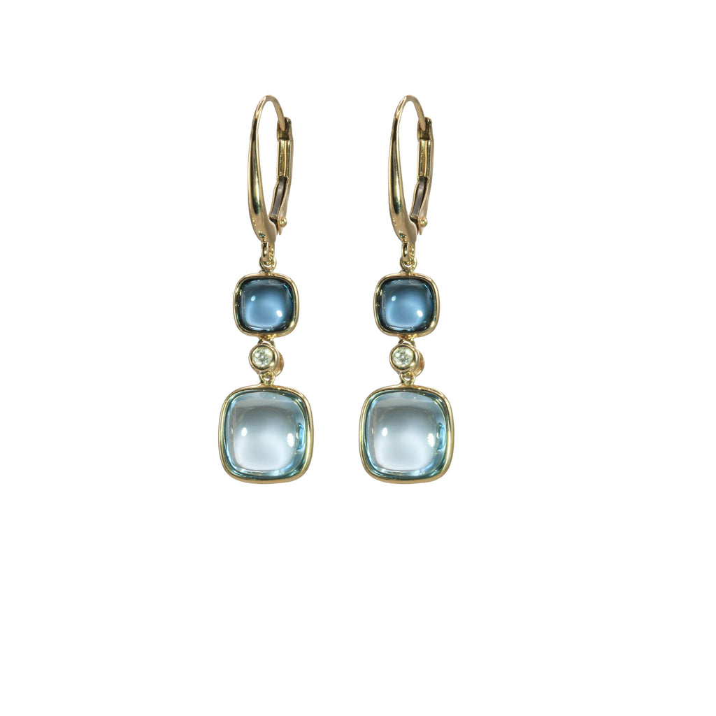 Blue Topaz and Diamond Dangle Earrings - Silverscape Designs