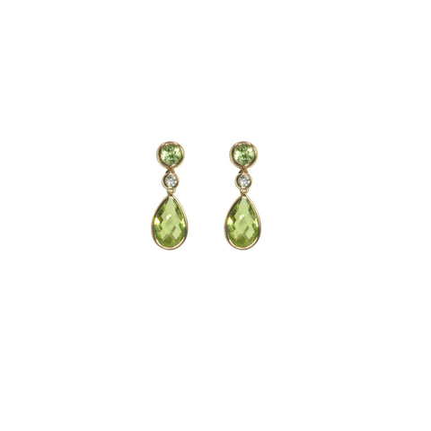 Peridot Tear Drop and Diamond  Gold Dangle Earrings - Silverscape Designs