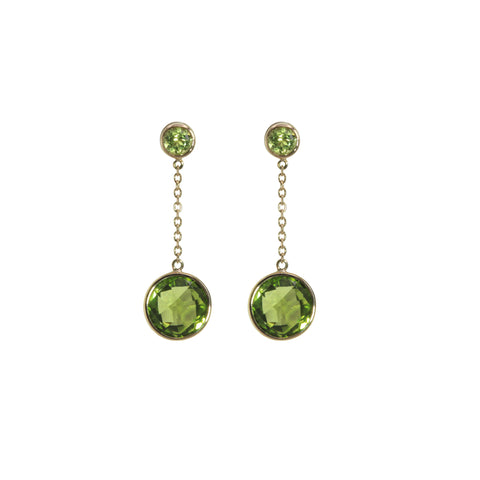 Round Peridot Dangle Earrings - Silverscape Designs