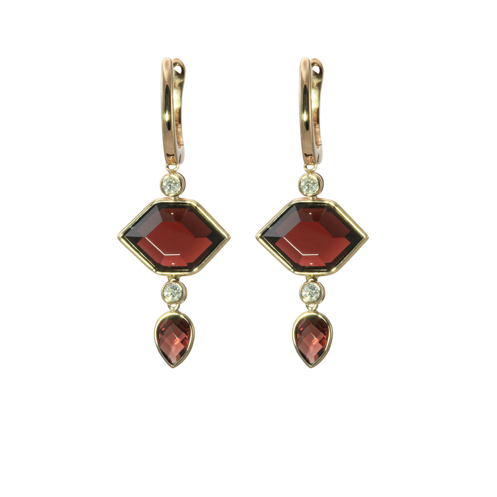 Hexagonal Garnet and Diamond Gold Dangle Earrings - Silverscape Designs
