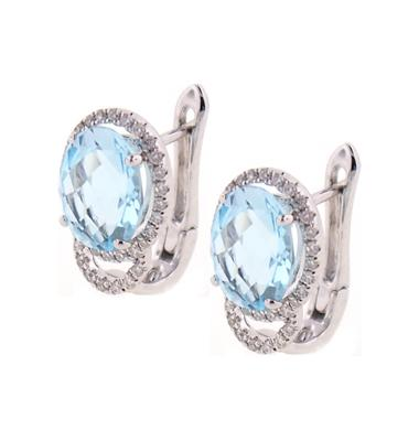 PeJay Creations Pallatte Collection 4.75 TCW Blue Topaz .30 TCW Diamond Halo Earrings