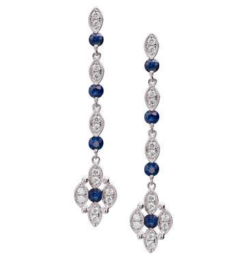 PeJay Creations .68 TCW Sapphire and .30 TCW Diamond 14k White Gold Dangle Earrings