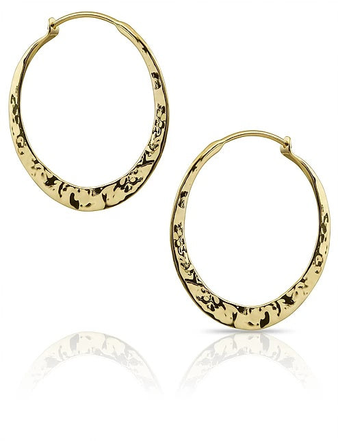 Yellow Gold Hand Forged Hoop Earrings