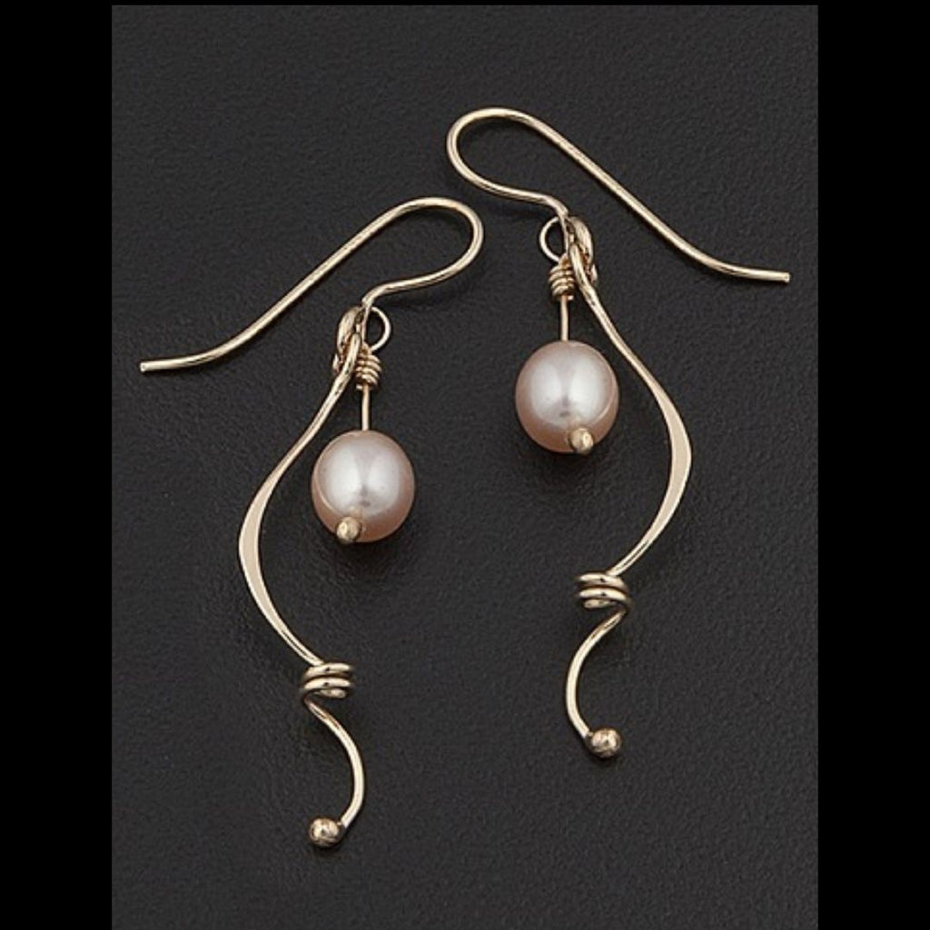 Pearl Accented Twist Earrings in Sterling Silver - Silverscape Designs