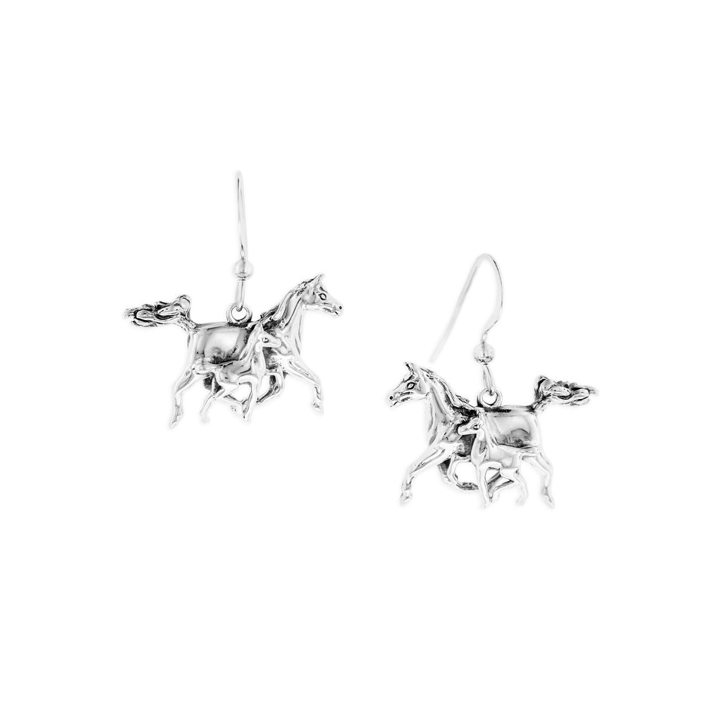 Sterling Silver Mother & Foal Earrings