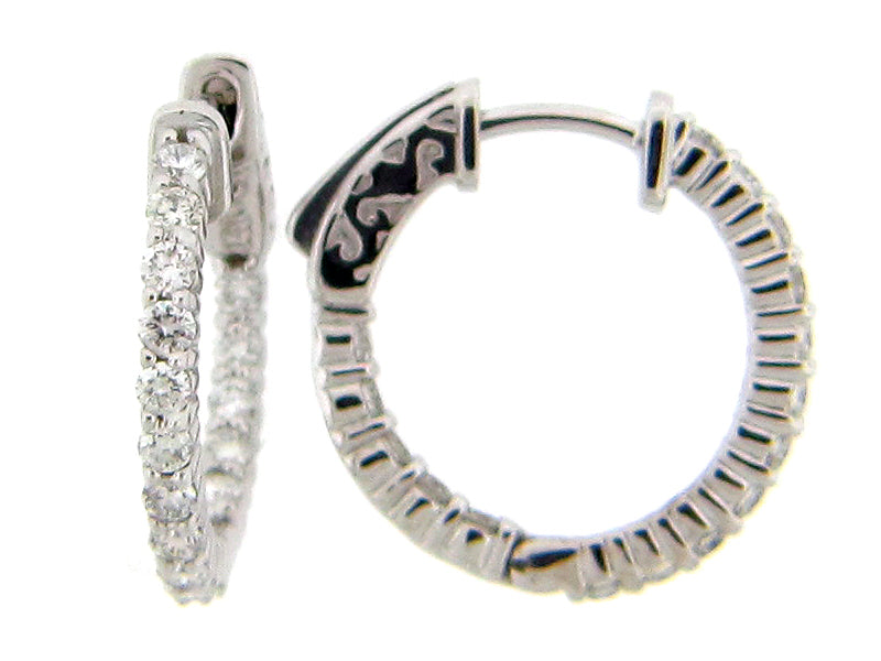Dilamani 14 Karat White Gold 16 Diamond Inside Out Hoop Earrings