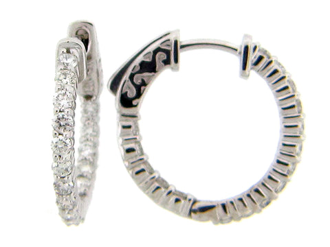 14 Karat White Gold Diamond Inside Out Hoops - Silverscape Designs