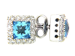 Princess Cut Blue Topaz and Diamond Earrings set in White Gold - Silverscape Designs