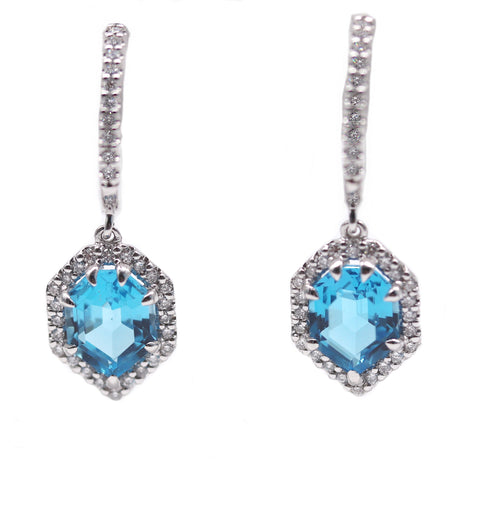 Artistry Hectagonal Blue Topaz .36TCW Diamond Halo 14k White Gold Earrings
