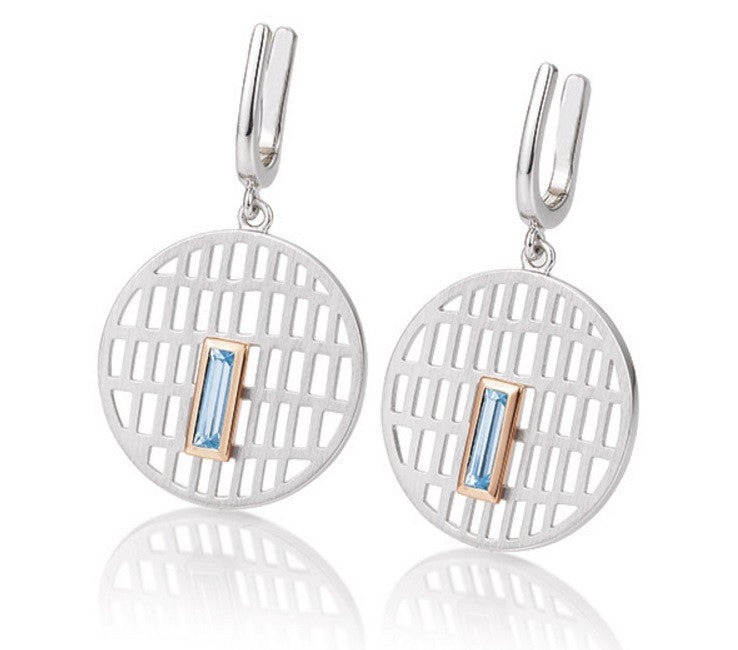 Breuning Sterling SIlver and Rectangular Blue Topaz Earrings