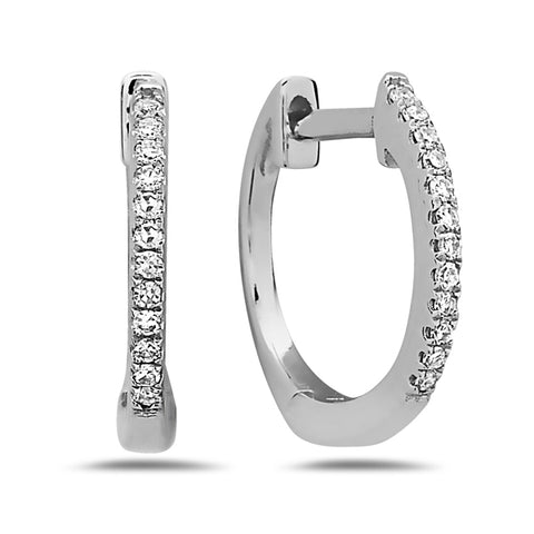 Diamond Small Huggie White Gold Hoop Errings - Silverscape Designs