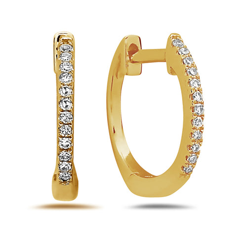 Diamond Small Huggie Yellow Gold Hoop Earrings - Silverscape Designs