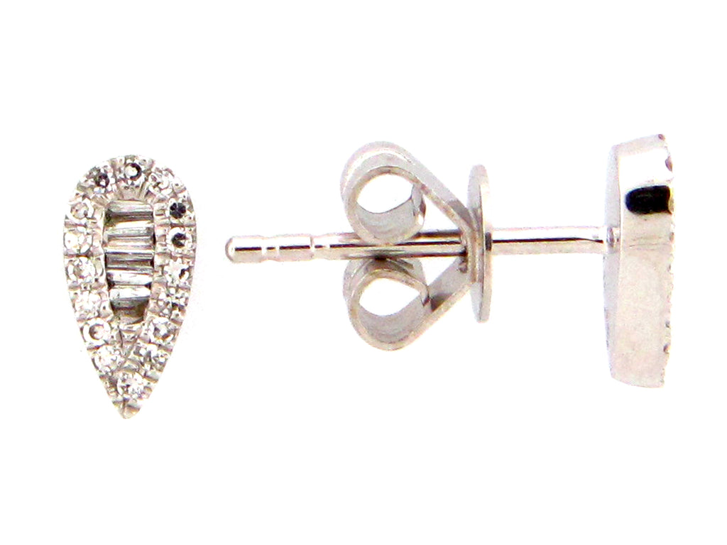 Diamond Pear Shaped White Gold Stud Earrings - Silverscape Designs