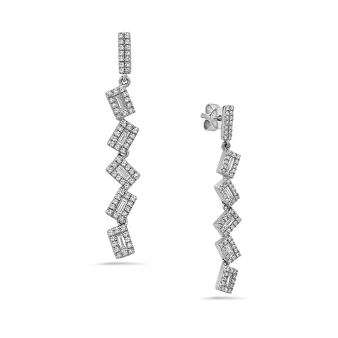 Pivoting Aystemmtric Diamond White Gold Dangle Earrings - Silverscape Designs