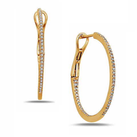 Diamond Yellow Gold Slim Hoop Earrings - Silverscape Designs