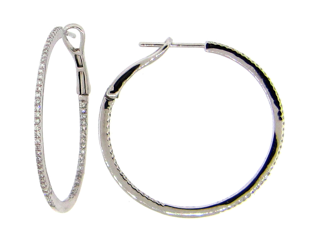 Large Diamond WHite Gold Hoop Earrings - Silverscape Designs