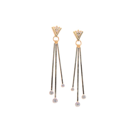 Unique Diamond Yellow Gold Dangle Earrings - Silverscape Designs