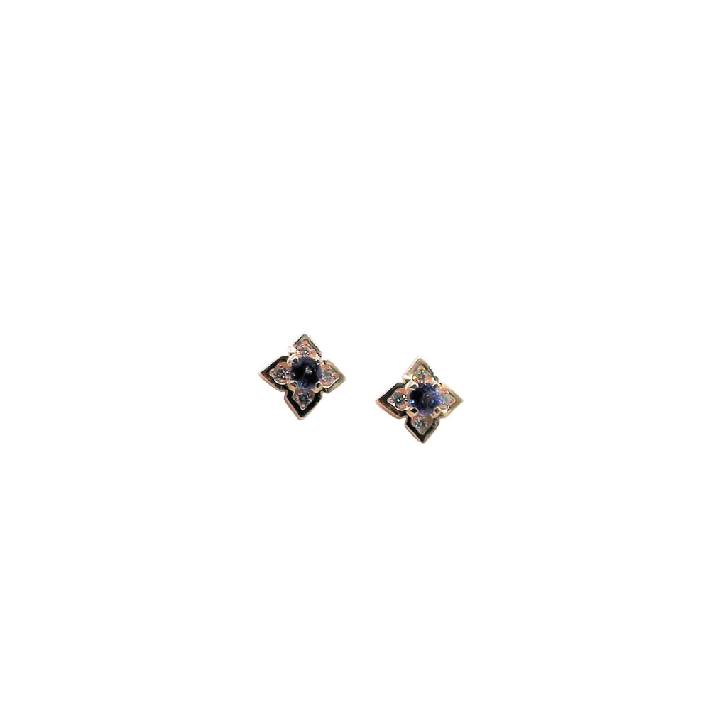 Blue Sapphire and Diamond Yellow and White Gold Stud Earrings - Silverscape Designs